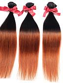 baratos Macacões & Macaquinhos-3 pacotes Cabelo Malaio Liso / Liso Seda Cabelo Humano Âmbar Âmbar Tramas de cabelo humano Extensões de cabelo humano / Reto