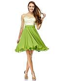 זול שמלות נשף-גזרת A / צמוד ומתרחב סקופ צוואר באורך  הברך שיפון / טול See Through מסיבת קוקטייל / נשף רקודים שמלה עם נצנצים על ידי TS Couture®