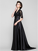 cheap Mother of the Bride Dresses-A-Line V Neck Sweep / Brush Train Lace / Charmeuse Mother of the Bride Dress with Lace by LAN TING BRIDE® / See Through
