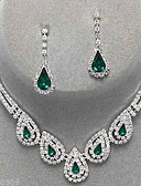 cheap Mother of the Bride Dresses-Women's Crystal Jewelry Set - Cubic Zirconia, Imitation Diamond Drop Party, Elegant, Bridal Include Drop Earrings / Pendant Necklace Emerald / Sapphire / Light Olive For Party / Special Occasion
