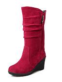 cheap Women's Belt-Women's Shoes Fleece Fall / Winter Comfort / Snow Boots Boots Walking Shoes Wedge Heel Round Toe Zipper / Tassel Red / Green / Pink