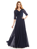 cheap Mother of the Bride Dresses-A-Line V Neck Floor Length Chiffon Mother of the Bride Dress with Beading / Criss Cross by LAN TING BRIDE®