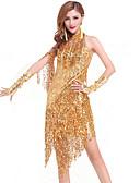 cheap Latin Dance Wear-Latin Dance Dresses Women's Performance Chinlon Sequin / Tassel Dress
