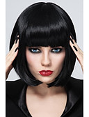cheap Women's Dresses-Synthetic Wig Women's Straight Black Bob / With Bangs Synthetic Hair Black Wig Short Capless StrongBeauty