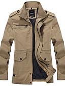 billige Jakker og frakker til herrer-Skjortekrage Tynn Trenchcoat - Ensfarget Militær Arbeid Herre