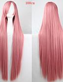 olcso Kvarc-Szintetikus parókák Egyenes Pink Aszimmetrikus frizura Szintetikus haj Természetes hajszálvonal Pink Paróka Női Hosszú Sapka nélküli Rózsaszín
