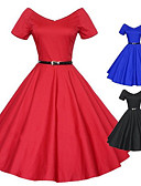 זול שמלות נשים-סקסית / יומיומי / Party / עבודהעגול-שרוול קצר-נשים-שמלות(כותנה)