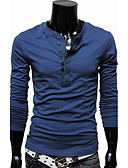 cheap Men's Tees & Tank Tops-Men's Plus Size Cotton / Polyester Slim T-shirt - Solid Colored / Long Sleeve