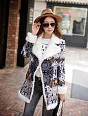 cheap Women's Coats & Trench Coats-Women's Going out Vintage Winter Long Coat, Geometric Notch Lapel Long Sleeve Polyester / Spandex Gray S / M / L