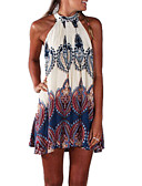 cheap Women's Dresses-Women's Beach Boho Cotton A Line Dress - Geometric Print Mini Halter Neck / Summer / Loose