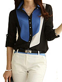 cheap Women's Shirts-Women's Plus Size Cotton Polyester Shirt - Color Block Shirt Collar