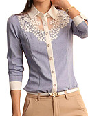 cheap Women's Dresses-Women's Shirt - Solid Colored Blue & White, Lace Shirt Collar
