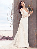abordables Vestidos de Novia-Funda / Columna Escote en Pico Corte Encaje Vestidos de novia hechos a medida con Encaje por LAN TING BRIDE® / Transparente