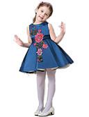 baratos Vestidos para Meninas-Menina de Vestido Floral Verão Poliéster Sem Manga Floral Branco Azul