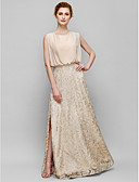cheap Mother of the Bride Dresses-Sheath / Column Jewel Neck Floor Length Chiffon / Lace Mother of the Bride Dress with Lace by LAN TING BRIDE®