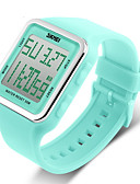 cheap Fashion Watches-SKMEI Women's Sport Watch / Digital Watch Alarm / Calendar / date / day / Chronograph Rubber Band Candy color / Fashion Black / Blue / Green / Water Resistant / Water Proof / LCD / Two Years