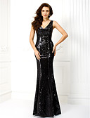 cheap Evening Dresses-Mermaid / Trumpet V Neck Floor Length Sequined Celebrity Style Formal Evening Dress with Sequin / Pleats by TS Couture®
