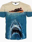 baratos Camisetas & Regatas Masculinas-Homens Camiseta Básico Estampado,Animal Decote Redondo Delgado