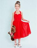 preiswerte Kleider für Junior-Brautjungfern-A-Linie Halter Tee-Länge Chiffon Junior-Brautjungferkleid mit Überkreuzte Rüschen / Gerafft durch LAN TING BRIDE® / Normal