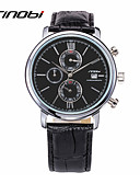 cheap Sport Watches-SINOBI Men's Sport Watch Wrist Watch Quartz 30 m Water Resistant / Water Proof Calendar / date / day Sport Watch Leather Band Analog Charm Black - Black
