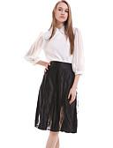 זול שמלות נשים-עד הברך-אטום-סגנון-חצאית(משי / פוליאסטר)