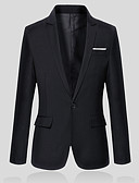 cheap Men's Blazers & Suits-Men's Work Spring / Fall Plus Size Regular Blazer, Solid Colored V Neck Long Sleeve Cotton / Polyester Gray / Wine / Light Blue XXL / XXXL / 4XL / Business Casual / Slim