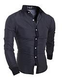 abordables Camisas de Hombre-Hombre Algodón Camisa, Cuello Inglés Delgado Un Color