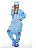 billige Sexy dameklær-Voksne Kigurumi-pysjamas Blå Monster Onesie-pysjamas Polar Fleece Blå Cosplay Til Damer og Herrer Pysjamas med dyremotiv Tegnefilm Halloween Festival / høytid