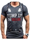 preiswerte Herren T-Shirts & Tank Tops-Herrn Buchstabe - Aktiv Sport Baumwolle T-shirt, Mit Kapuze Schlank Druck / Kurzarm