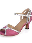 abordables Relojes Deportivo-Mujer Zapatos de Salsa Brillantina / Sintético / Satén Sandalia / Tacones Alto / Zapatilla Purpurina / Hebilla / Poroso Tacón Carrete Personalizables Zapatos de baile Rosa / Azul / Rendimiento