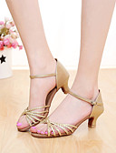 abordables Vestidos de Noche-Mujer Zapatos de Baile Latino Semicuero Sandalia Hebilla Tacón Personalizado Personalizables Zapatos de baile Plata / Oro / Interior