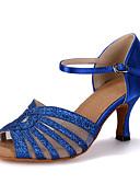 abordables Vestidos de Novia-Mujer Zapatos de Baile Latino Brillantina / Satén Sandalia / Tacones Alto / Zapatilla Purpurina / Hebilla / Poroso Tacón Carrete Personalizables Zapatos de baile Rojo / Azul / Oro / Rendimiento