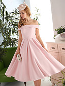 cheap Prom Dresses-A-Line / Fit & Flare Off Shoulder Tea Length Polyester / Satin Lace Up Cocktail Party / Prom Dress with Draping by LAN TING Express