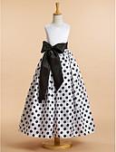 preiswerte Kleider für die Blumenmädchen-A-Linie Knöchel-Länge Blumenmädchenkleid - Satin Ärmellos U-Ausschnitt mit Muster / Druck durch LAN TING BRIDE®