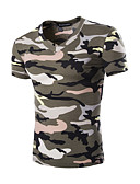 baratos Camisetas & Regatas Masculinas-Homens Camiseta - Esportes camuflagem Algodão Decote V