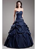 abordables Vestidos de Paso de Ecuador-Salón Escote Corazón Hasta el Suelo Tafetán Evento Formal Vestido con Detalles de Cristal / Falda Plegada por TS Couture®