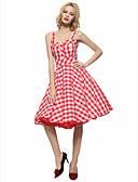baratos Vestidos de Mulher-Mulheres Tamanhos Grandes Vintage Bainha balanço Vestido - Frente Única, Quadriculada Com Alças Altura dos Joelhos