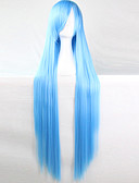 billige Brudepikekjoler-Syntetiske parykker / Kostymeparykker Dame Rett Blå Asymmetrisk frisyre Syntetisk hår Naturlig hårlinje Blå Parykk Lang Lokkløs Lyseblå