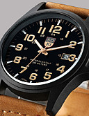 cheap Leather Band Watches-Men's Wrist Watch Calendar / date / day Leather Band Casual / Fashion Brown / Green / Khaki