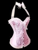baratos Corpetes-Mulheres Colchete Sem Busto Com Busto Floral Poliéster Fibra Sintética Rosa claro