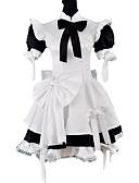 Χαμηλού Κόστους Κομπινεζόν γάμου-Πριγκίπισσα Γοτθική Λολίτα Κλασσική / Παραδοσιακή Lolita Σατέν Γυναικεία Maid Suits Cosplay Μαύρο Μπαλούν Κοντομάνικο Μεσαίου Μήκους Κοστούμια