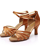 preiswerte Bauchtanzkleidung-Damen Schuhe für den lateinamerikanischen Tanz / Ballsaal / Salsa Tanzschuhe Satin Sandalen Schnalle Maßgefertigter Absatz Maßfertigung Tanzschuhe Braun / Gold / Königsblau