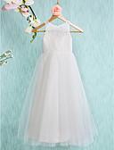 זול שמלות לילדות פרחים-גזרת A באורך הקרסול שמלה לנערת הפרחים - תחרה / טול ללא שרוולים עם תכשיטים עם תחרה / קפלים על ידי LAN TING BRIDE®