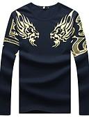 זול מכנסיים ושורטים לגברים-מידות גדולות כותנה, טישרט - בגדי ריקוד גברים דפוס / שרוול ארוך