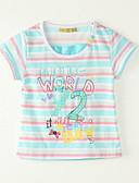 baratos Roupas de Meninos-Para Meninas Camiseta Para Noite Verão Poliéster Manga Curta Azul Claro