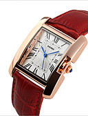 baratos Quartz-Mulheres Relógio de Pulso Impermeável Couro Banda Luxo / Fashion Preta / Vermelho / Marrom