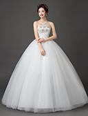 billige Brudekjoler-bold kjole stropløs gulvlængde blonder satin tulle brudekjole med krystal med broderet brude