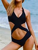 abordables Biquinis y Bañadores para Mujer-Mujer Sólido / Cruzado / Recortes Halter Negro Monokini Bañadores - Un Color S M L / Relleno / Espalda Cruzada