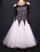 cheap Ballroom Dance Wear-Ballroom Dance Dresses Women's Performance Tulle Pattern / Print / Ruched Long Sleeve Natural Dress / Modern Dance