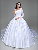 cheap Wedding Dresses-Ball Gown Scoop Neck Cathedral Train Satin Made-To-Measure Wedding Dresses with Beading / Appliques by LAN TING BRIDE® / Illusion Sleeve